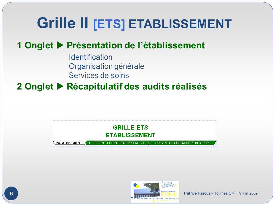 Grille II [ETS] ETABLISSEMENT